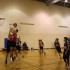 """Senior Gunnar Rudrud attempts to dunk. His teammate, senior Jacob Patterson, described his favorite part of playing Park Board: """"[it's] being able to play basketball again and being able to try things on the court that you wouldn't be able to in a competitive setting."""""""