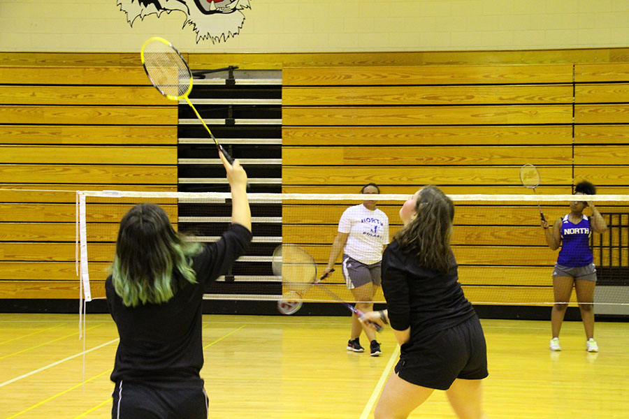 Pictured above players from the South badminton team go head to head up against North Community's badminton team in a game of doubles on the 24th of April. Photo: Mia Swanson