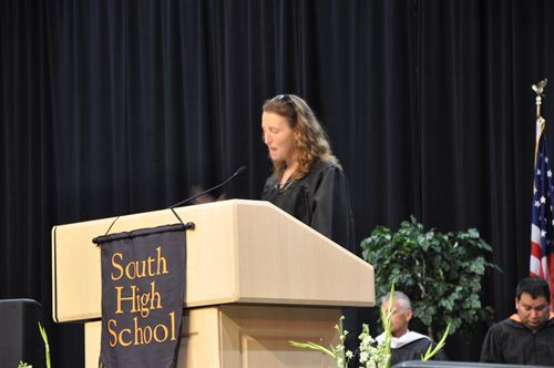Pictured above 2017 commencement speaker, Kelly Barnhill, gives her speech to send off the class of 2017 along with her eldest daughter, Ella Barnhill. Photo courtesy: Lisa Ramirez
