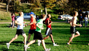 Members of the cross country running team participate in the Miller Relays on October 12.