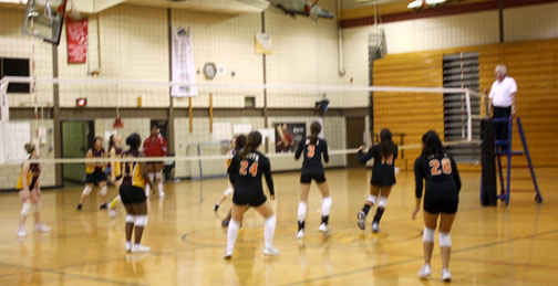 South volleyball players take on the competition from Roosevelt in a September 23 game.