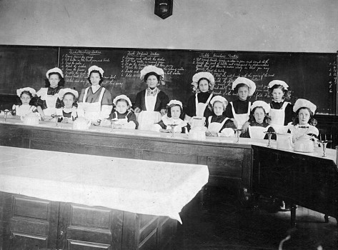 A 1911 home economics class. Obviously the class would be much different today.
