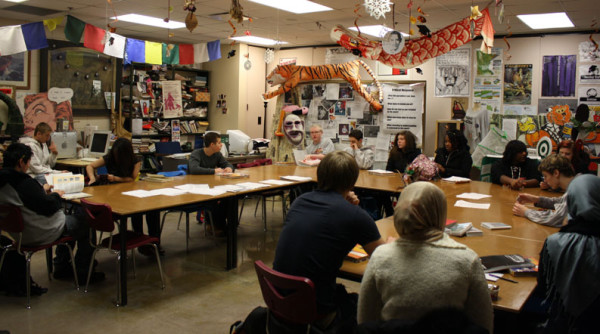 South+students+discuss+their+new+book+for+a+Partnership+class