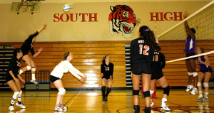 Captain Ellen Sachs delivers a back row attack during a game against Southwest.  Photo Credit: Erika Roedl