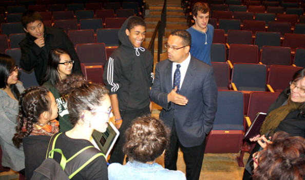 Keith Ellison stayed back after the re-dedication as students were leaving to answer questions the students had. Photo: Erika Roedl