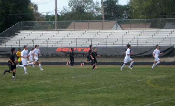Men's Varsity plays at Super Soccer Saturday.  They won 1-0.