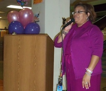 Ms. Cecilia Saddler at her farewell ceremony on Sept. 4th as she transitions to Associate Superintendent .