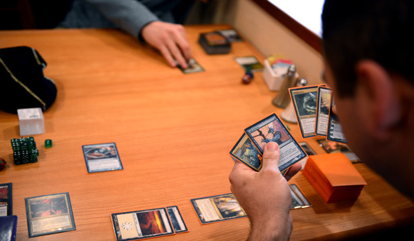 South students playing Magic The Gathering, a card game that has recently risen in popularity at school.