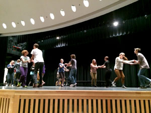 Students rehearsing for the upcomeing musical, Hairspray. Practicing one of the opening numbers, in the auditorium. Preformances will be in March on the 12th, 13th, and 14th. Photo: Anna Schwartz.