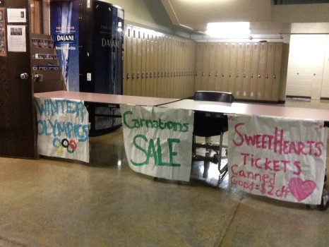 Participation in Winter Olympics, Valentines day carnations and tickets to South's Sweet Hearts dance are all being sold during lunch, get your tickets soon!