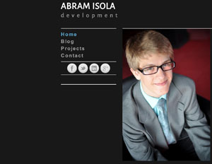 Senior Abram Isola is pictured on his website, abram.isola.mn. Isola designs and develops websites for many clients.