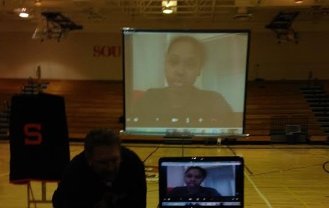 Tayler Hill attended the ceremony through skype, which was projected on a screen.