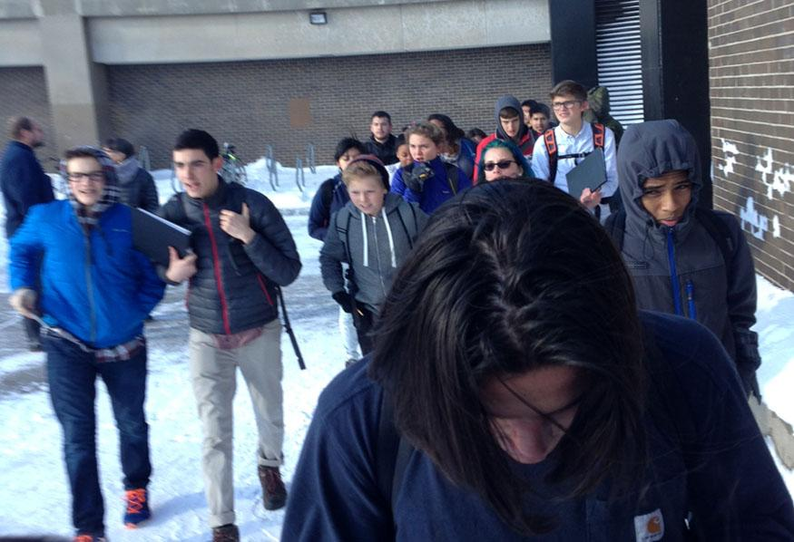 Students evacuated the school at around 10:45 following a small fire in a third floor bathroom.