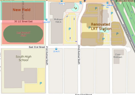 This map shows where the proposed development for South's new stadium and the LRT station will be.