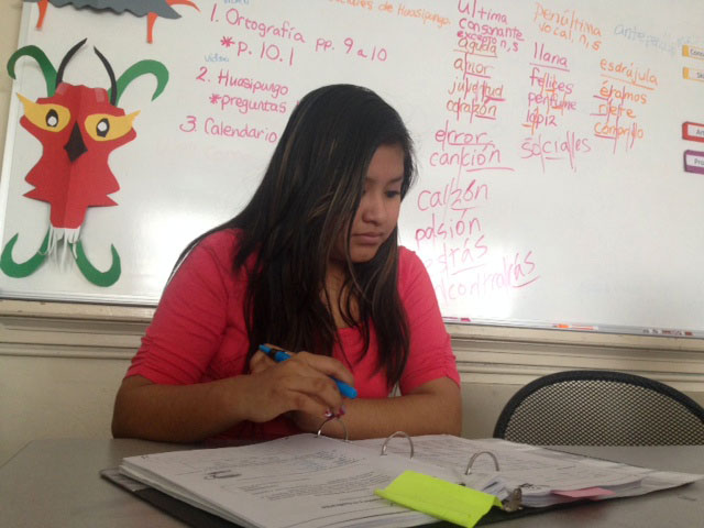 Griselda+Castillo%2C+a+14+year+old+Wellstone+native+Spanish+speaker%2C+works+on+vocabulary+in+her+Spanish+class.+Although+Wellstone%E2%80%99s+main+goal+is+English+literacy%2C+they+also+offer+Native+Language+classes.+Castillo+will+attend+South+this+upcoming+fall.+