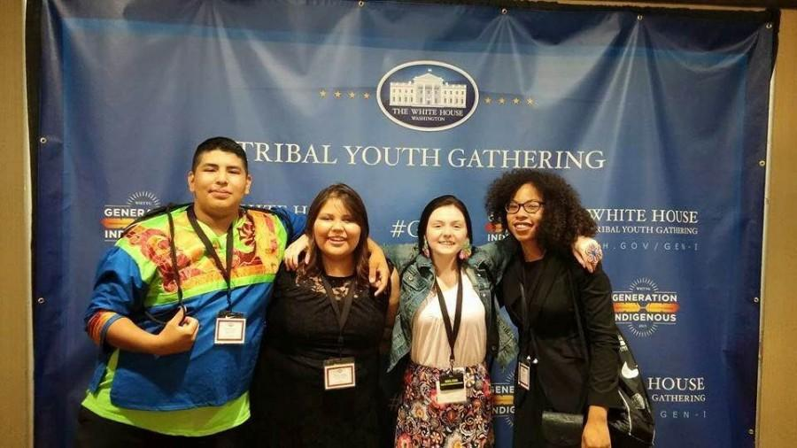 Abel+Martinez%2C+Breeana+Green%2C+Sierra+Villebrun%2C+and+Priestess+Bearstops+attended+the+first+Tribal+Youth+Gathering+in+Washington+D.C+this+past+summer.+The+Tribal+Youth+Gathering++brings+together+Native+youth+from+230+different+tribes+across+the+US.