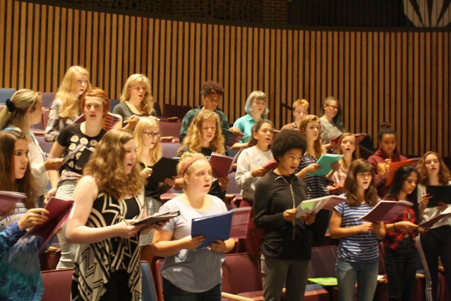 Treble Choir, formerly known as Women's Choir, rehearses in the auditorium. Choir students advocated to change the name of the choir to include members of all gender identities and emphasize music theory.