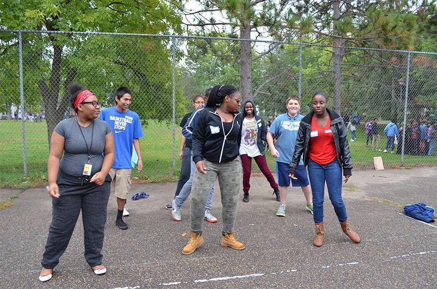 Avid students Alariana Johnson, Spencer Kimball, Asha Farah, Antionna Bradley, Joe Four Horns, Natalia Cortes White Eagle, and Deyona Becton do the whip.