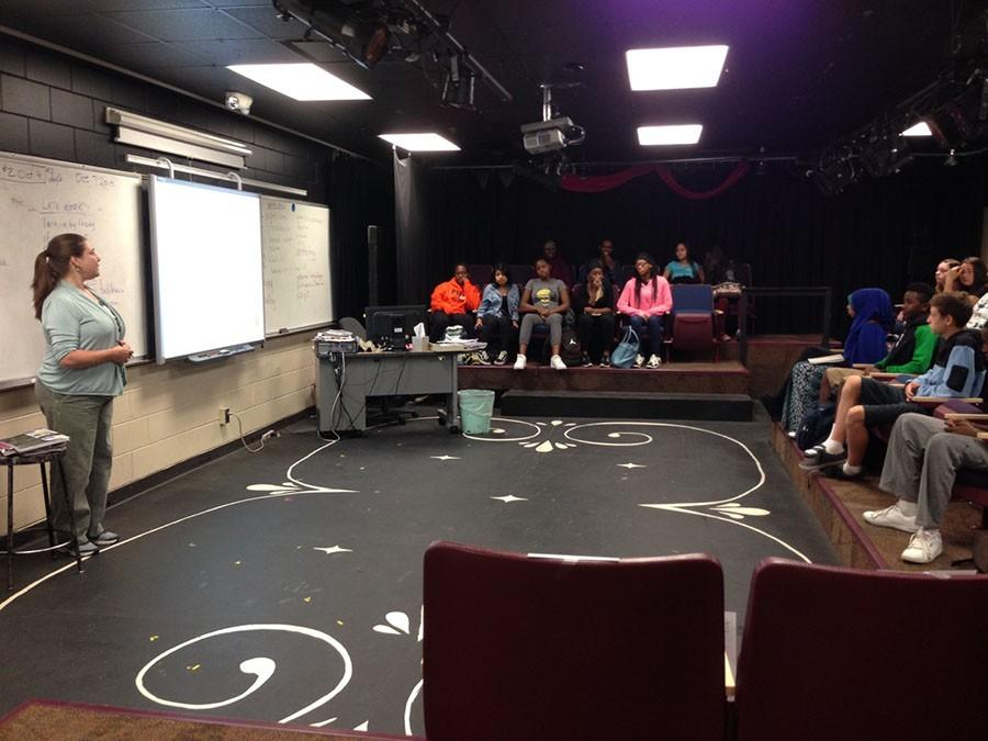 Kristin Rosenmeier teaching students. She is the new performance art teacher at South and is bringing fresh energy to the South theater program.