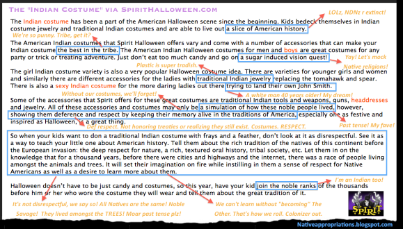 Dr. Adrienne Keene's reply to Spirit Halloweens highly racist Indian costume description.