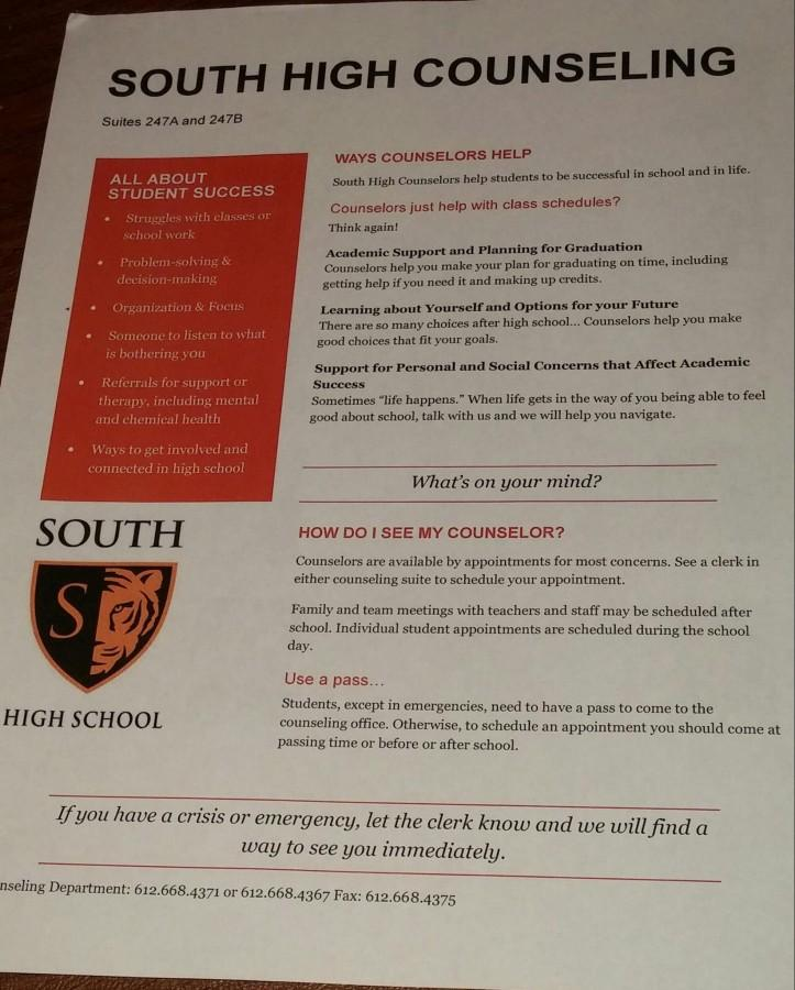 """Counseling flier given out to students stating """"Counselors just help with class schedules? Think again."""""""