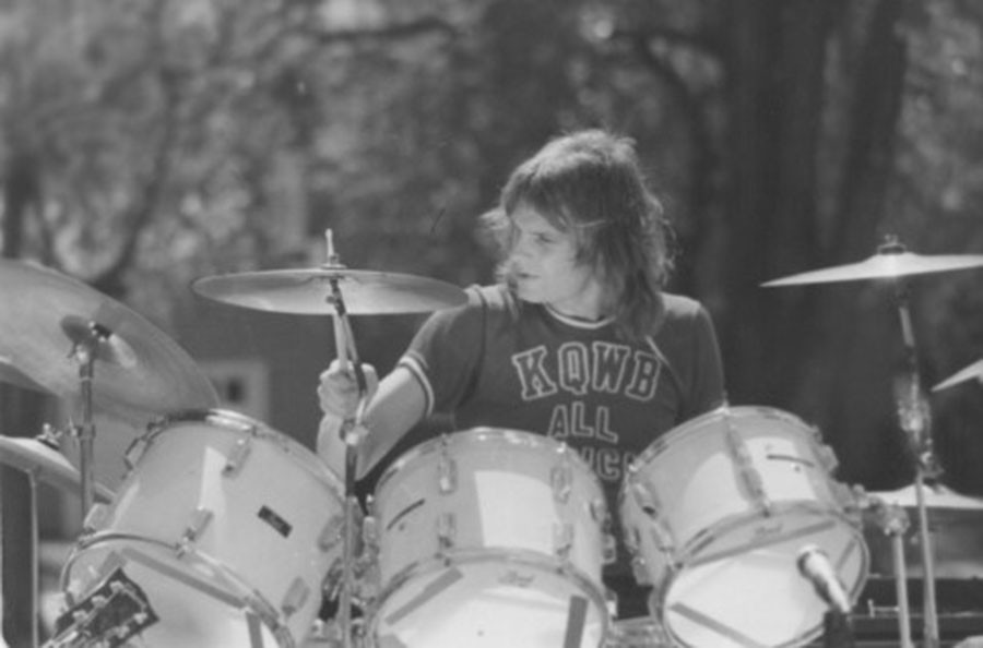 Berglund, pictured above, jams out during a drum session with one of his bands in the 1970's. Photo credit: Doug Berglund