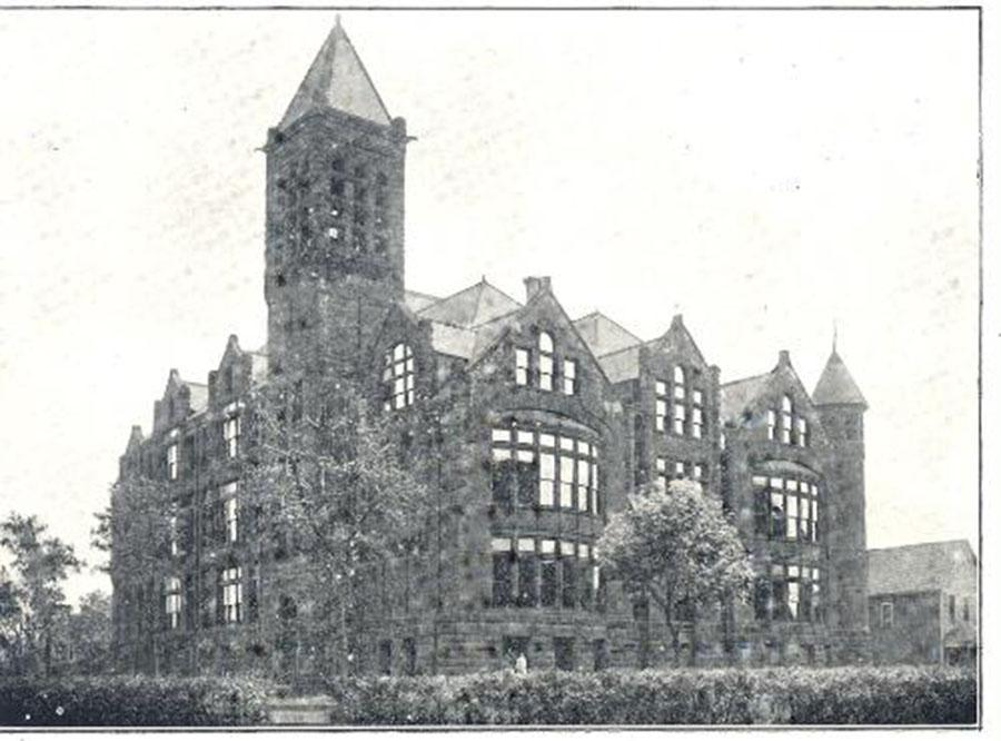 A view of the old South at the Cedar and 24th location. The six story bell tower was built as part of the original construction but there was no bell. Some think that the absence of the bell was because the schools were going to use an electronic bell system. The top of this bell tower is located in the back of the media center at South High. Photo courtesy of: MPS History Department