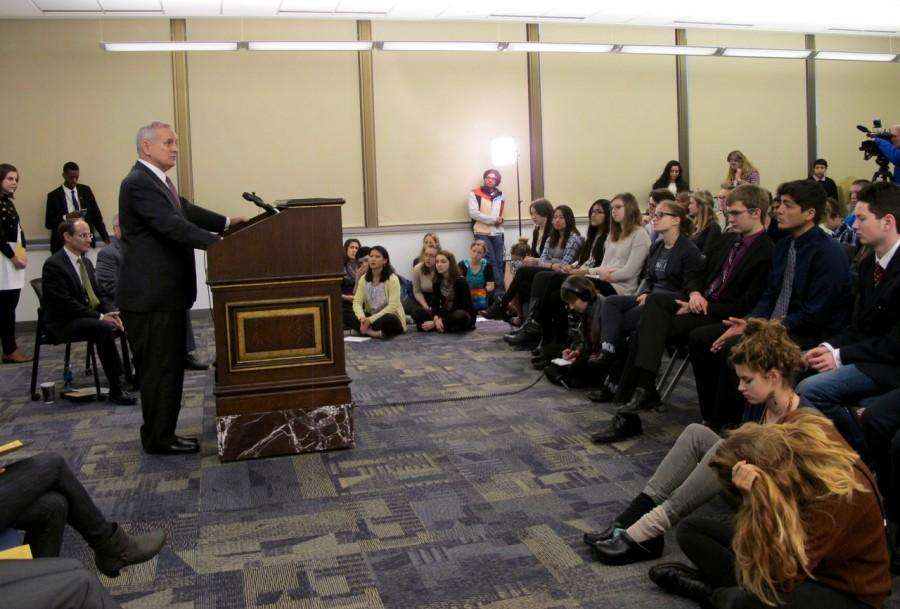 Governor Mark Dayton addresses a crowd of 75 young people from across the state. South students pressed Dayton to involve communities of color in the implementation of the Clean Power Plan.