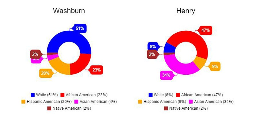A breakdown of the ethnic diversity in Washburn and Patrick Henry high schools.