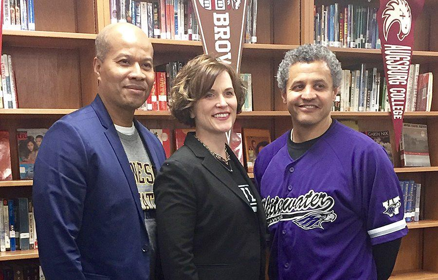Superintendent Michael Goar and Minneapolis Mayor stand beside principal Ray Aponte. The big names ate lunch with South seniors on college signing day and discussed graduation statistics, the ACT, and college plans.