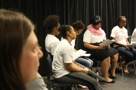 """Theater teacher Kirstine Rosenmeier sits with her students during a class performance. South will not offer theater electives during the day next year due to a budget cut. This raised questions about equity in access to theater, as many students can't stay for after school productions. """"I will miss [South] terribly,"""" Rosenmeier said. Photo: Soline Van de Moortele"""