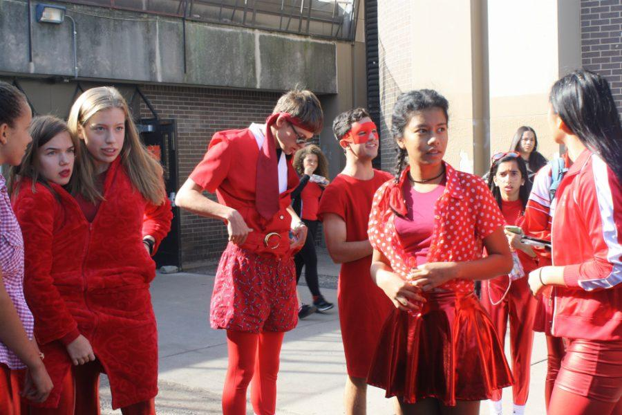 "South juniors dressed up in red in response to the class color day tradition. ""It's [about] building up, having fun... I think the idea of it, dressing up and waiting to be the senior, it's fun, it makes everyone look forward to something in high school."" said senior Aria Kressel."
