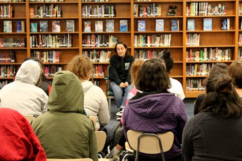"""Hazel Hennen, a South senior, speaks about her experience with mental illness at South High's SRC (Silver Ribbon Campaign) that meets every other Wednesday. SRC invites speakers to talk about their experience with mental illness and addiction. """"South cares about its students"""" said Gabe Stumme, a South alum who has recovered from high school addiction and now runs the recovery program at Central Michigan. Photo: Samara Adam"""