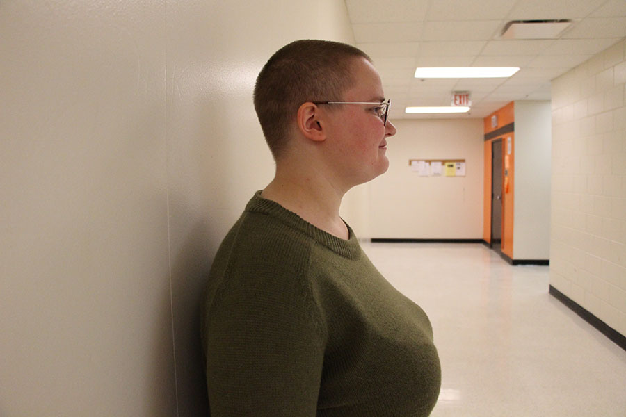 Junior Tyler Jacobson has a hairstyle some might say is unusual, a shaved head.  Jacobson explained that his hairstyle helps represent a part of his identity.