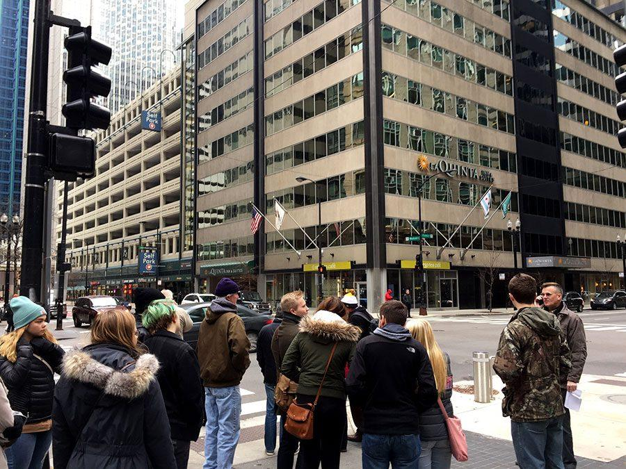 The group on their way to Berghoff's, a historic German restaurant in the Chicago loop. Photo: Eli Shimanski