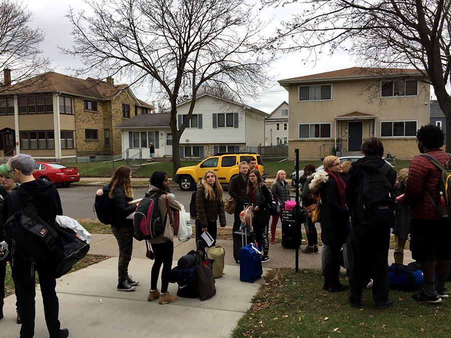 The class organizing themselves outside of South and preparing for the long bus ride. Photo: Eli Shimanski