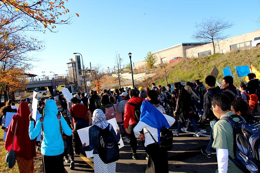 South students walking out of school in protest of the Dakota Access Pipeline. On December 4th the Army Corps. of Engineers denied easement of the pipeline, and is exploring other possible routes.  Photo: Lil Crawford