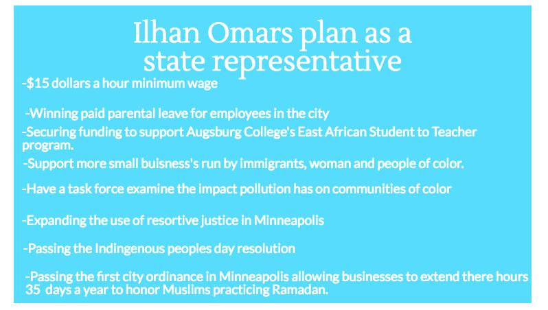 Ilhan Omar's plans as the newly elected state representative. Omar is the first Muslim woman to be elected as state representative, and this has excited many in the Muslim community. Graphic: Shadia Nurein