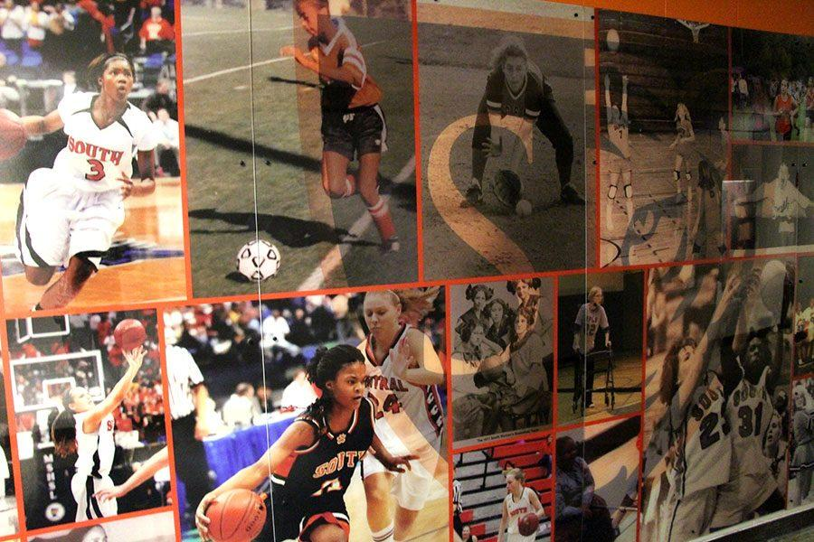 The+new+mural+located+in+the+northeastern+hall+by+the+gym+depicts+a+litany+of+South+athletes+including+Kendra+Roedel%2C+Isabel+Strebe+and+Tayler+Hill+who+is+currently+a+member+of+the+WNBA.