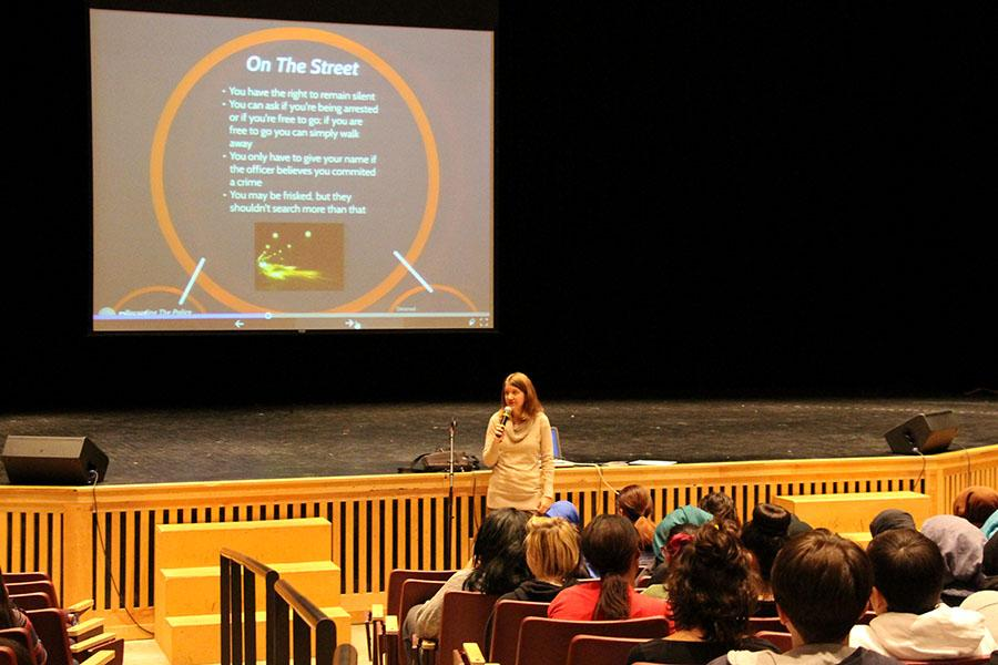 ACLU representative, Jane Kooren, speaks to an audience of South's students during the first Friday Seminar on February 10th.