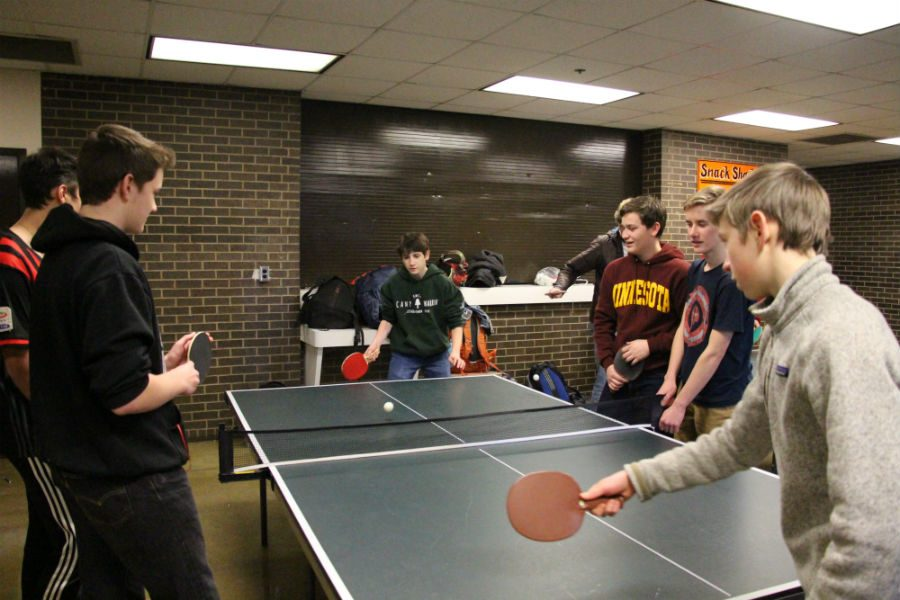 Pictured above South students show their stuff at the ping-pong club's second meeting in front of the schools snack shack. Co-creator of the group, Desmond Lafave mentioned,