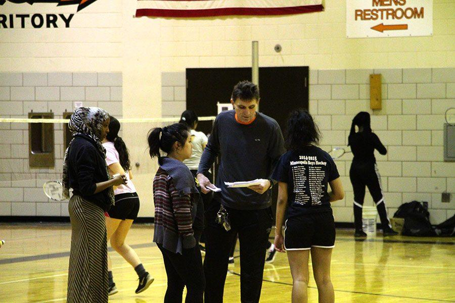 Pictured above Rodney Lossow coaches, and gives instructions to the badminton team. Lossow is a former assistant coach that has taken up the mantle of head coach for the football team and continues to coach the badminton team. He has coached many different sports in Minneapolis.  Photo: Eli Shimanski
