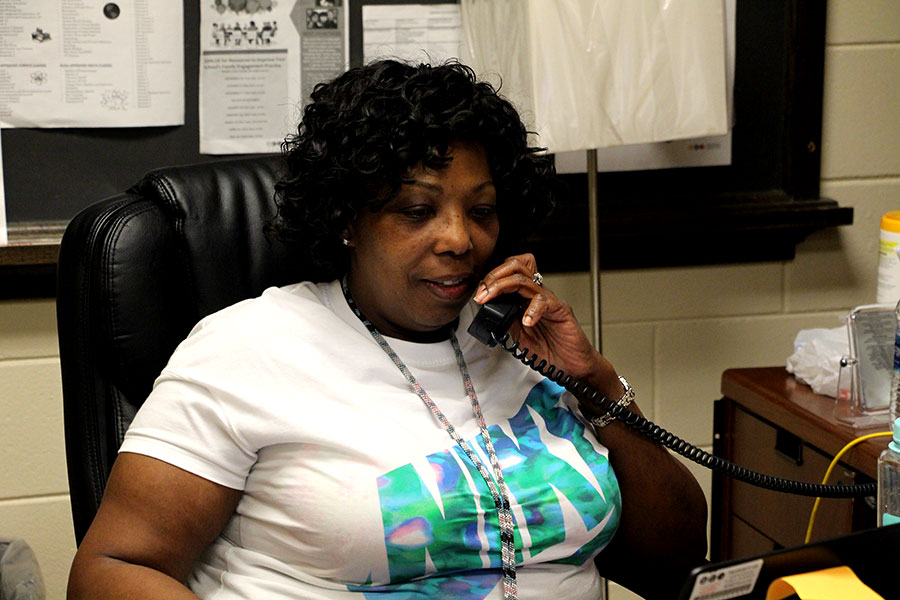 Pictured above is one of South's parent liaisons Sharon White. South's 16 million dollar budget has been cut by 2.5% for the 2017-18 school year. Due to the cuts, White has not been offered a position for the coming school year. Aponte decided to cut the welcome desk position and part-time counseling position among other things. The only department to receive a funding increase was the All Nations program.