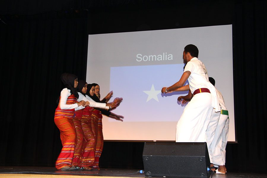 "Here at African Cultural Night on March 30th students from Somalia danced in a performance. This show was planned by a committee of African students that wanted ""to blur out the ignorance that people have about people of African descent, to show our culture, to show how we are different,"