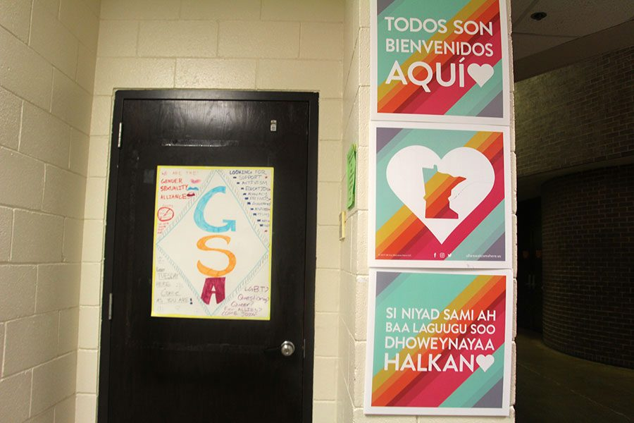 Signs by the welcome desk send GSA's message streaming through the halls.