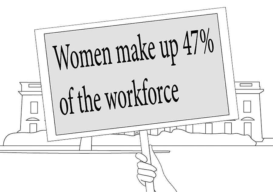 This is a primary example of a sign that can be used instead of one that states 'my uterus my choice.'  In theory, if a Day Without Women was executed properly. 47% of the workforce would be missing, an action that could severely impact people's everyday lives.