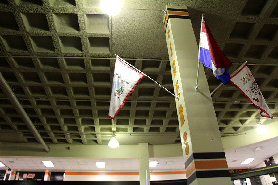 Pictured above the Red Lake flag in the middle of the commons is one of the seven new flags put up  to represent tribal nations within minnesota. Photo: Oliver Hall