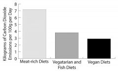 In the graphic above, people who consume meat and other animal products leave a larger carbon footprint than those who don't. Many people don't know that on a global scale the livestock industry produces more greenhouse gas emissions than all forms of transportation combined. We need to include the animal industries in our discussions of climate change. Graphic: Eli Shimanski