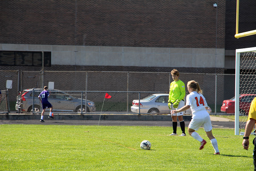 Sophomore Annika Brown kicking a goal kick for the  team. (Women's Junior Varsity)