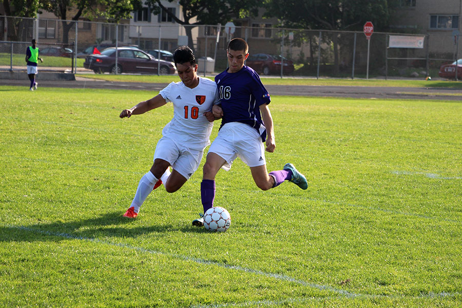Senior and Varsity player Brian Medel tries to wrestle the ball from a Southwest player. Sophomore boys lost with a final score of  0-2. Both girls' and boys' Junior Varsity teams lost with ending scores of 0-6 and 1-3 respectively. Girls' Varsity lost 0-4 and boys' Varsity lost 1-2.